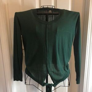 Forrest green long sleeved tie front top